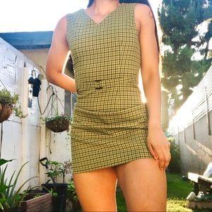 Vintage 90s Green Plaid Belted Mini Dress